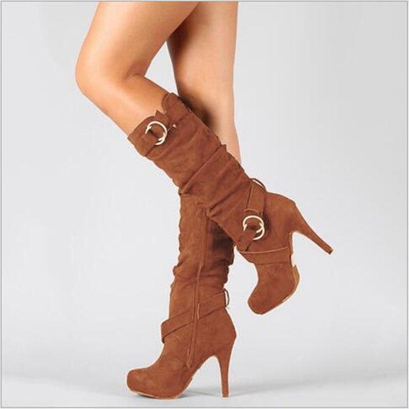 Autumn Winter Women Boots Stretch Slim Thigh High Boot 2018 New Fashion Mid-Calf Boot Thin High Heels Shoes Woman Botas