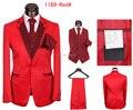 Пользовательские костюм! 2016 Новых людей Красный костюм Джентльмен платье Костюмы свадебные жених костюм (Куртка + Брюки + галстук + Жилет) Бесплатная Доставка