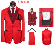 custom suit!!2016 New Men's Red suit Gentleman dress Suits wedding groom suit (Jacket+Pants+Tie+Vest)Free Shipping