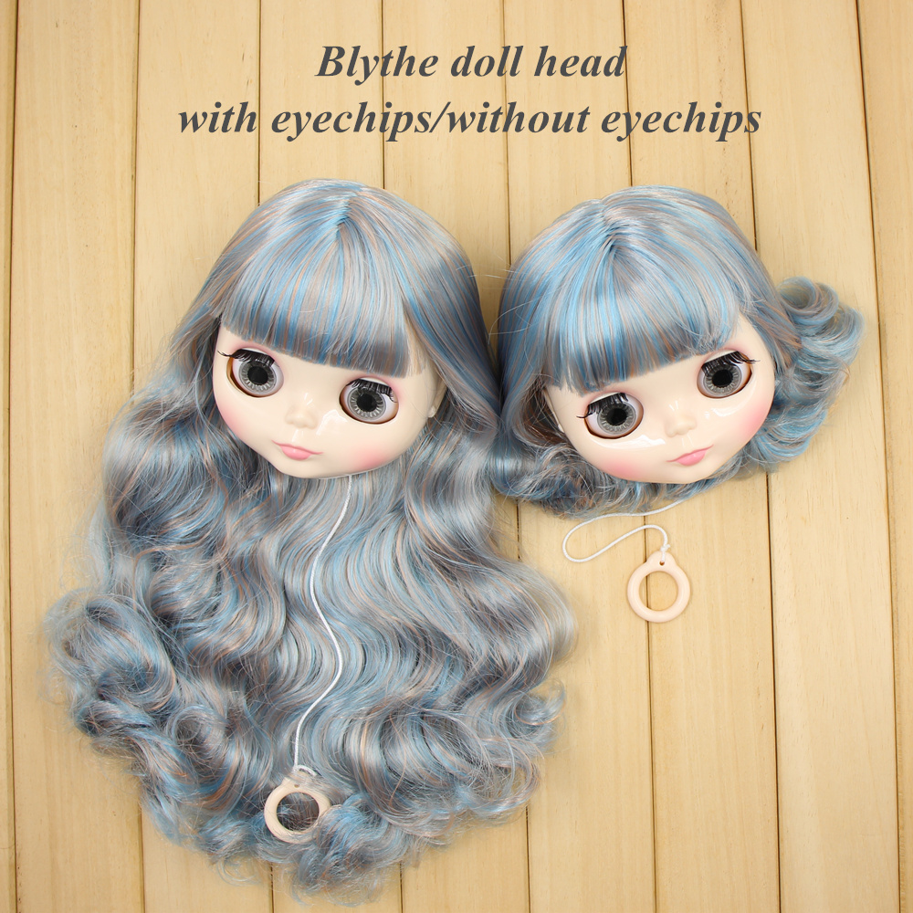 blyth doll head with hair customize DIY 1 6 with or without eyechips hot mix color