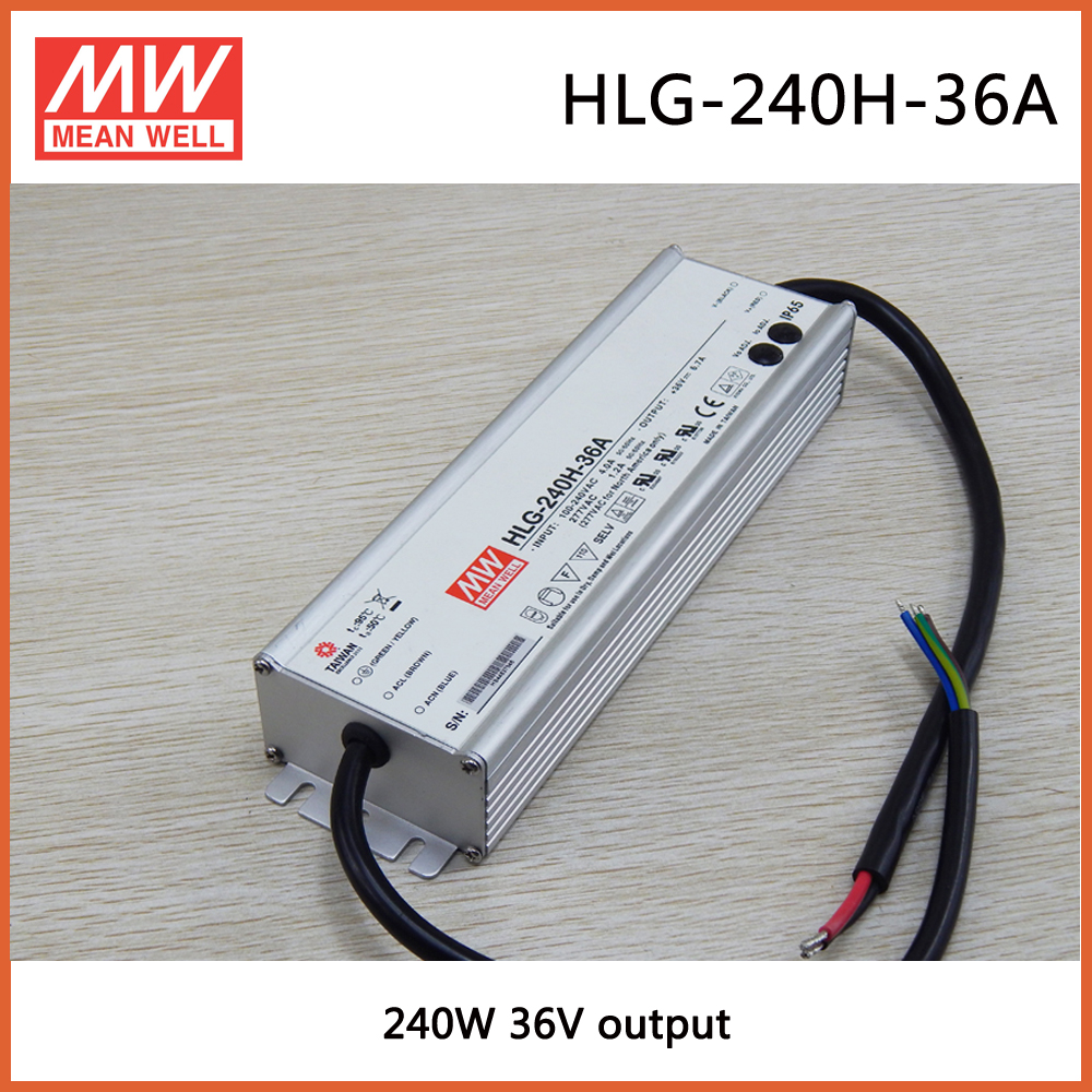 HLG-240H-36A  Mean Well  240W 36V6.7A  240W Single Output Switching  Waterproof  Power Supply Street Light PFC