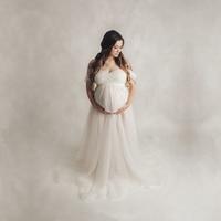 White Maternity Lace Bodysuit Tulle Dresses Sets Slip Strap Long Tulle Dress Maternity Photo Tutu Dress Pregnancy Tulle Gown