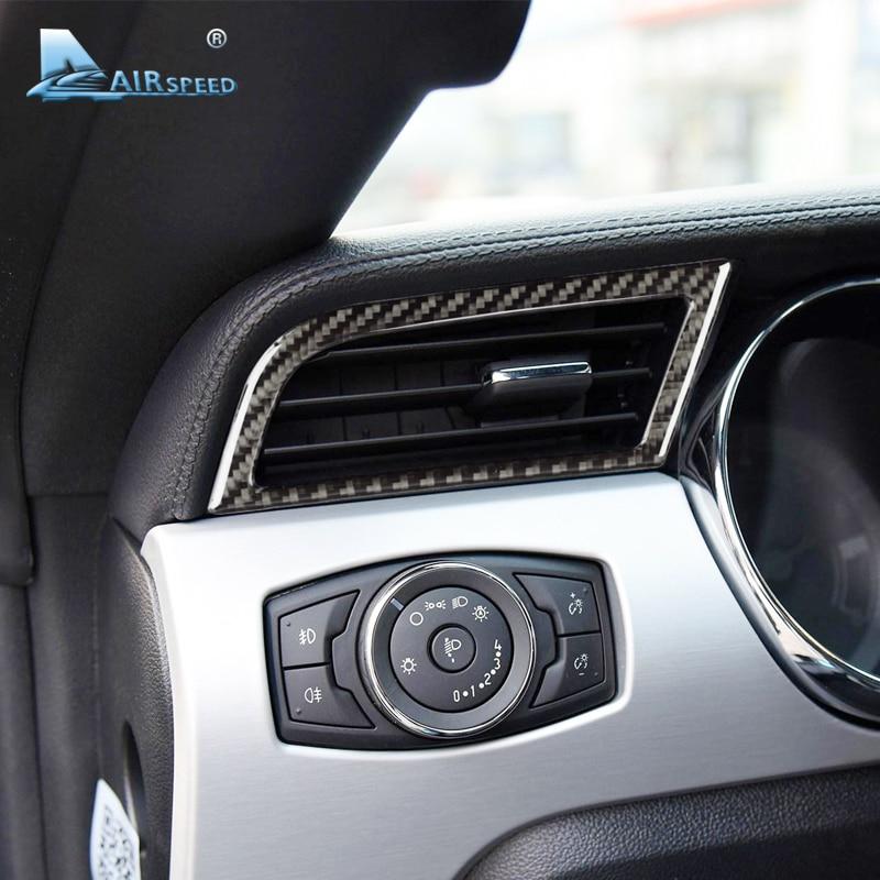 Vitesse En Fiber De Carbone prise SECTEUR pour Ford Mustang Voiture-Styling Air Conditioner Outlet porte AC 2015 2016 2017 Auto accessoires