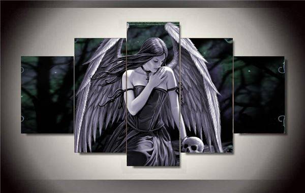 Framed Printed Anne Stokes Picture Painting Wall Art Room Decor Print Picture Canvas 5 Pcs/Set Free Shipping F/1300