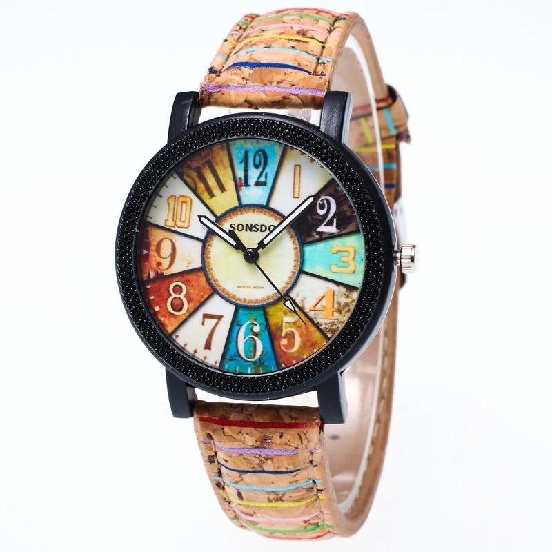 Lovesky Store Watches Women Elegant Harajuku Graffiti Pattern Leather Band Analog Quartz Vogue Wrist Watches Fashion Quartz Watch