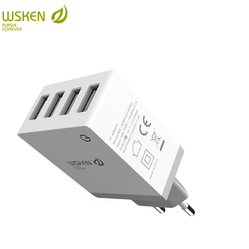 WSKEN cargador USB para teléfono max 2.1A 4 puertos de carga para el teléfono iPhone X 8 7 redmi note 5 para samsung galaxy s8 S9 note8