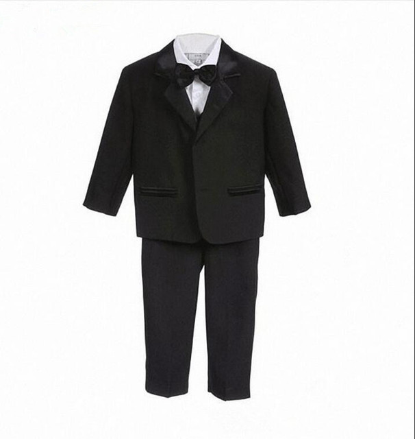 16f3a4a3d93ec High Quality Baby boy tuxedo suit for wedding child blazer clothing set 5pcs  coat+vest+shirt+tie+pants boy formal dress 1-3year