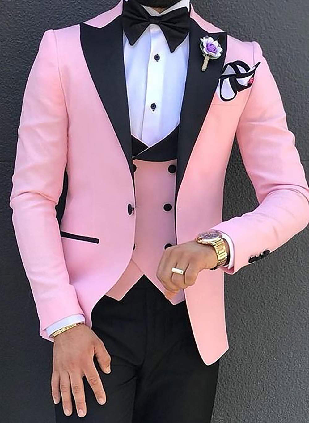 Pink Mens Suits 3 Pieces Slim Fit Casual Business Groomsmen Green Champagne Lapel Tuxedos For Formal Wedding (Blazer+Pants+Vest)