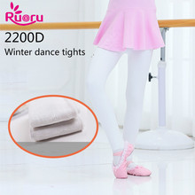 Ruoru 2200D Cotton Modal Anti-pilling Girls Ballet Tights Children Kids Dance Foot White Black Pantyose