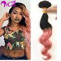 Ombre 2 Tone 1B/Pink Clip En el Pelo Brasileño Remy Virginal Del Pelo Humano Cuerpo Wave10pc/set Clip de Color Rosa en Las Extensiones de Cabello Humano