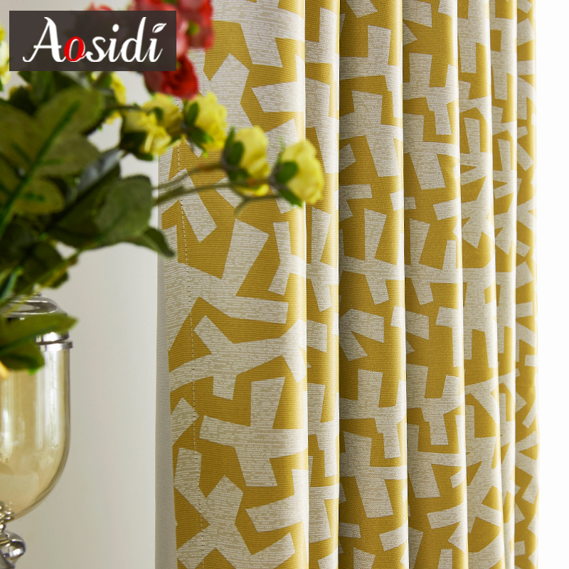 Modern Geometry Printed Curtains For Living Room The Yellow Blackout Curtains For Bedroom Window Drapes Fabrics 80% Blinds Tend
