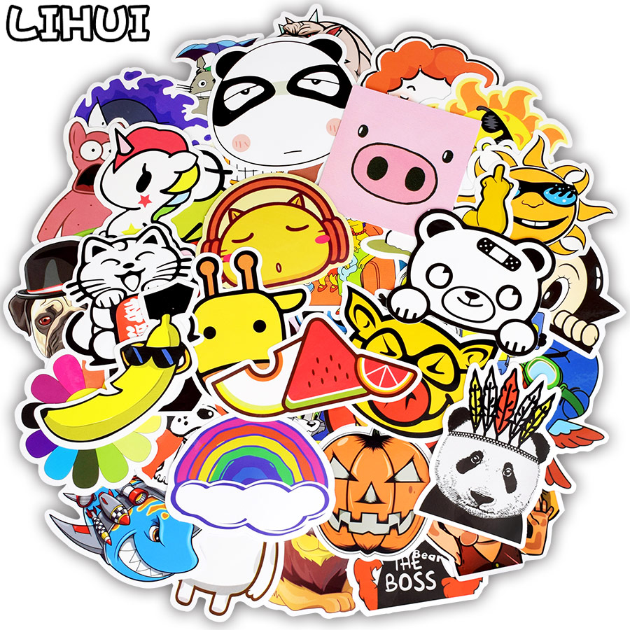 50pcs cartoon style sticker anime cute animal childrens stickers for diy skateboard bicycle laptop suitcase notebook stickers in stickers from toys