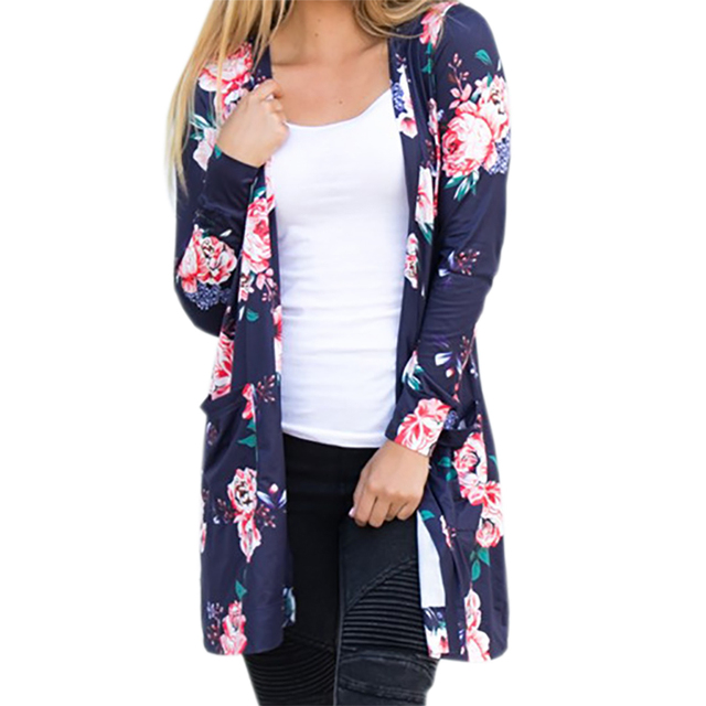 Summer Coat Woman Kimono Jacket Casual Floral Cardigans Jackets Long Sleeve Loose Coat Tops Tee Tunic Mujer Femme 2017 WS1105U 2