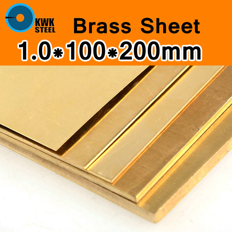 1 * 100 * 200mm Brass Sheet Plate of CuZn40 2.036 CW509N C28000 C3712 H62 Customized Size Laser Cut CNC Mould DIY Frame Metal ...