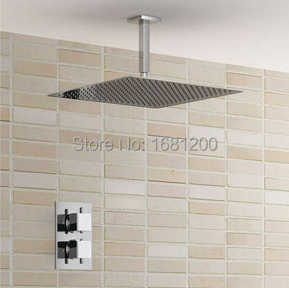 16 Ceiling Mounted Square Thermostatic Shower Set Ultra Thin Head 1 Way Bathroom