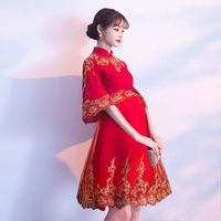 Vintage Asian Bride Dress Chinese Style Pregnant Women Wedding Cheongsam Embroidery Vestidos Novelty Mandarin Collar Qipao