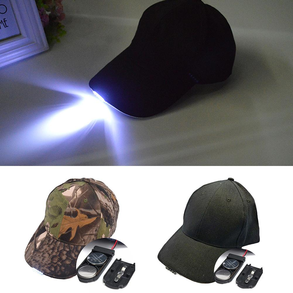 1pc LED Light   Cap   Rechargeable Battery Camping Fishing   Baseball   Cotton Peak Men Hat