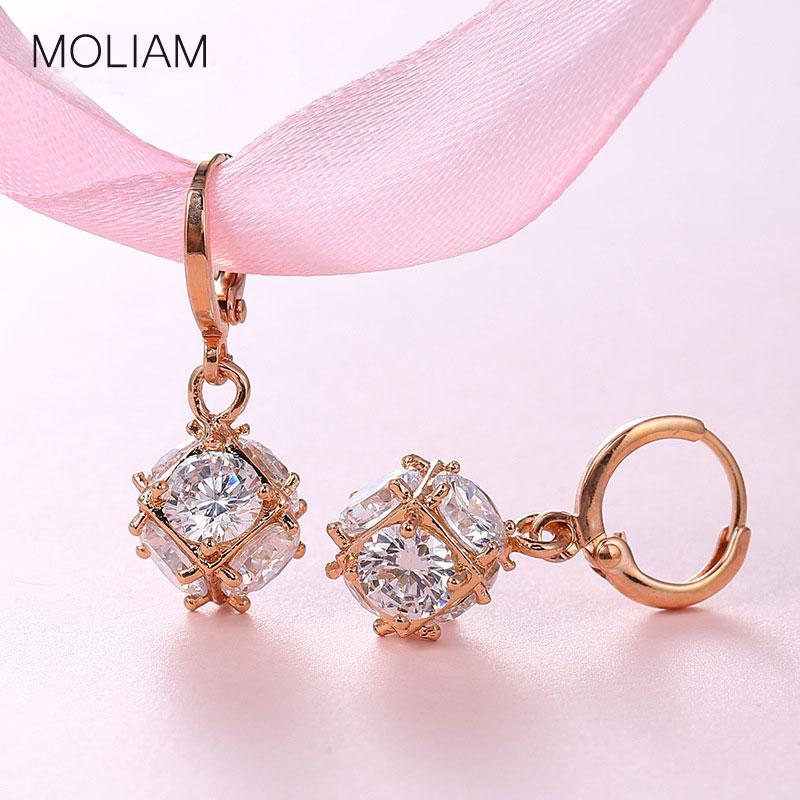 MOLIAM Moda ciondola l'orecchino per le donne / le ragazze orecchini d'argento / d'oro i gioielli di nozze d'oro l'orecchino di zircone bianco MLE304