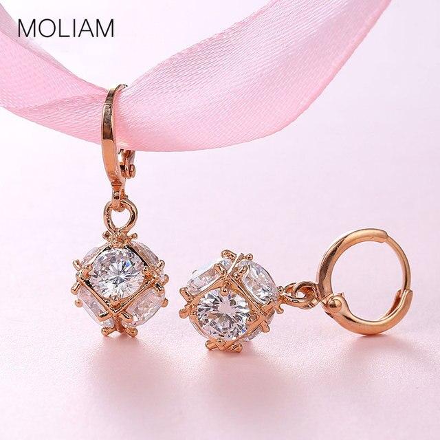 MOLIAM Fashion Dangle Earring for Women/Girls Earrings Silver/Gold-Color Wedding Jewelry White Zircon Earring MLE304