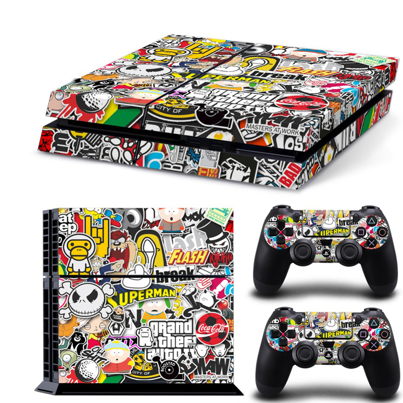 Bomb Graffiti For PS4 Vinyl Skin Sticker Cover For PS4 Playstation 4 Console + 2 Controller Decal Game Accessories