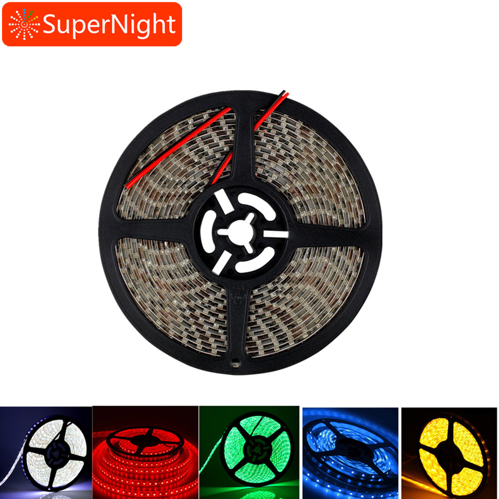 EPBOWPT 5 Single Color 3528 5M 16.4ft 600leds 120leds/m Waterproof IP65 Flexible Bright LED Strip Light Ribbon Tape DC12V 5A 60W
