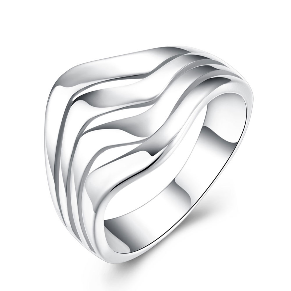 Top quality Silver Plated & Stamped 925 three wave line rings for women stone jewelry vintage wedding rings promotion