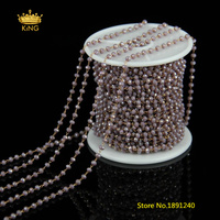 5Meters 2x3mm Faceted Glass Beaded Chains,Rosary Chain Grey Pink AB Glass Plated Bronze Links Rondelle Beads DIY Bracelet HX096