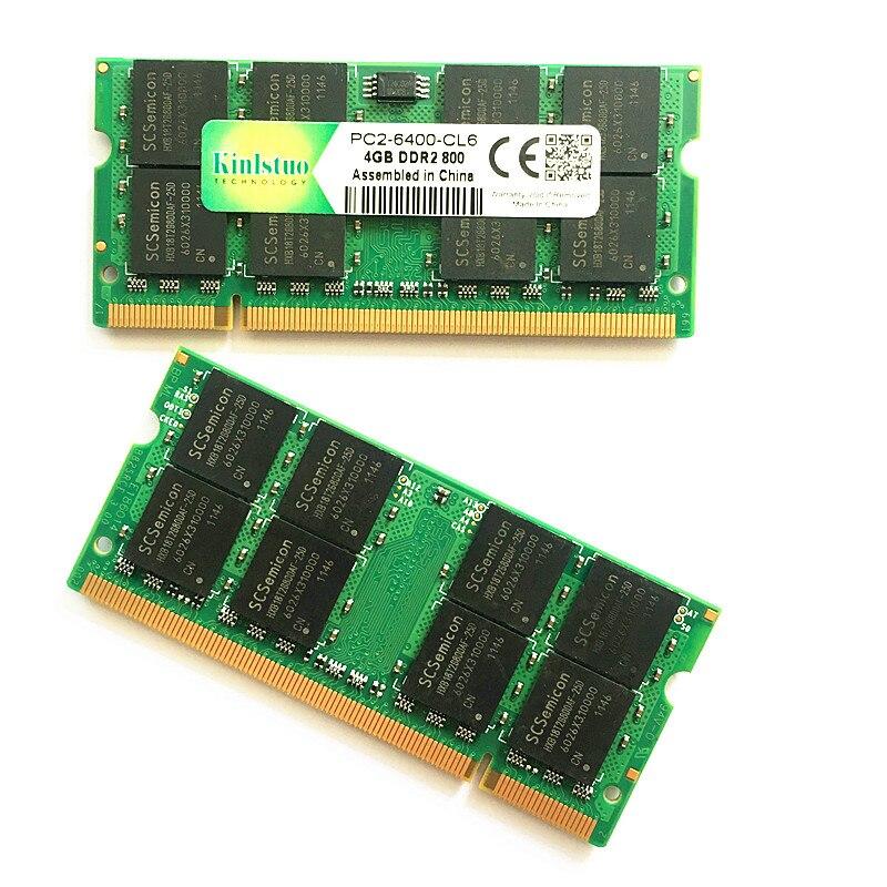 Kinlstuo mémoire ram ddr2 4 gb 800 Mhz pc2-6400 ddr2 rams 4 gb 667 pc2-5300 sodimm ordinateur portable 4 gb ddr2 mémoire compatible avec 2 gb