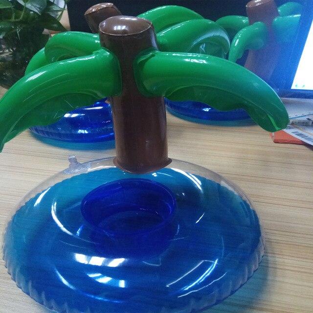 6 Pcs Lot Coconut Tree Mini Inflatable Floating Drink Holder Pool