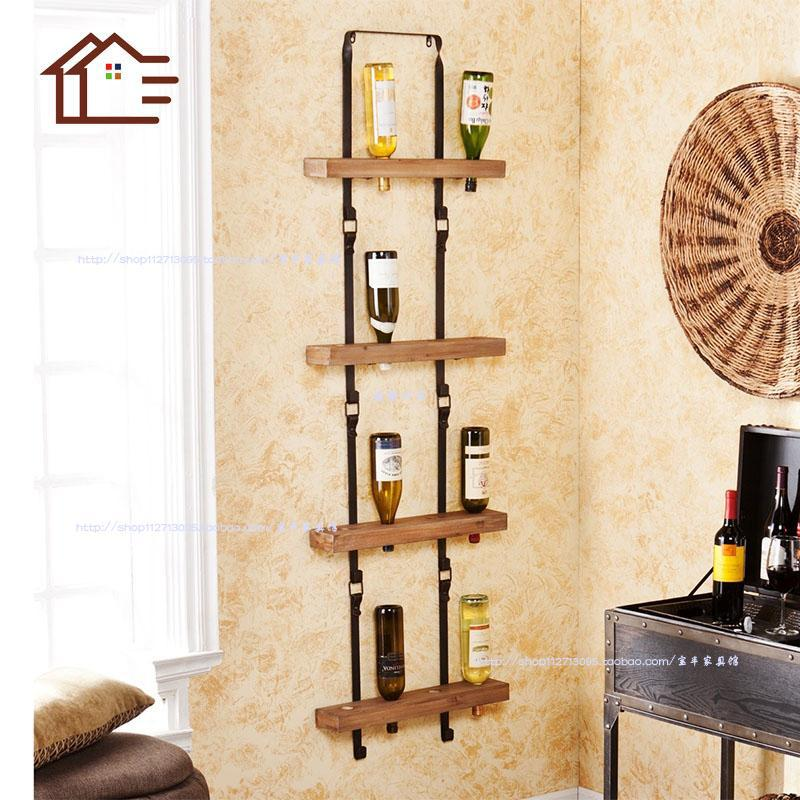 chair upside down on wall white dining table and chairs set european retro iron wood wine rack creative hanging bar shelf