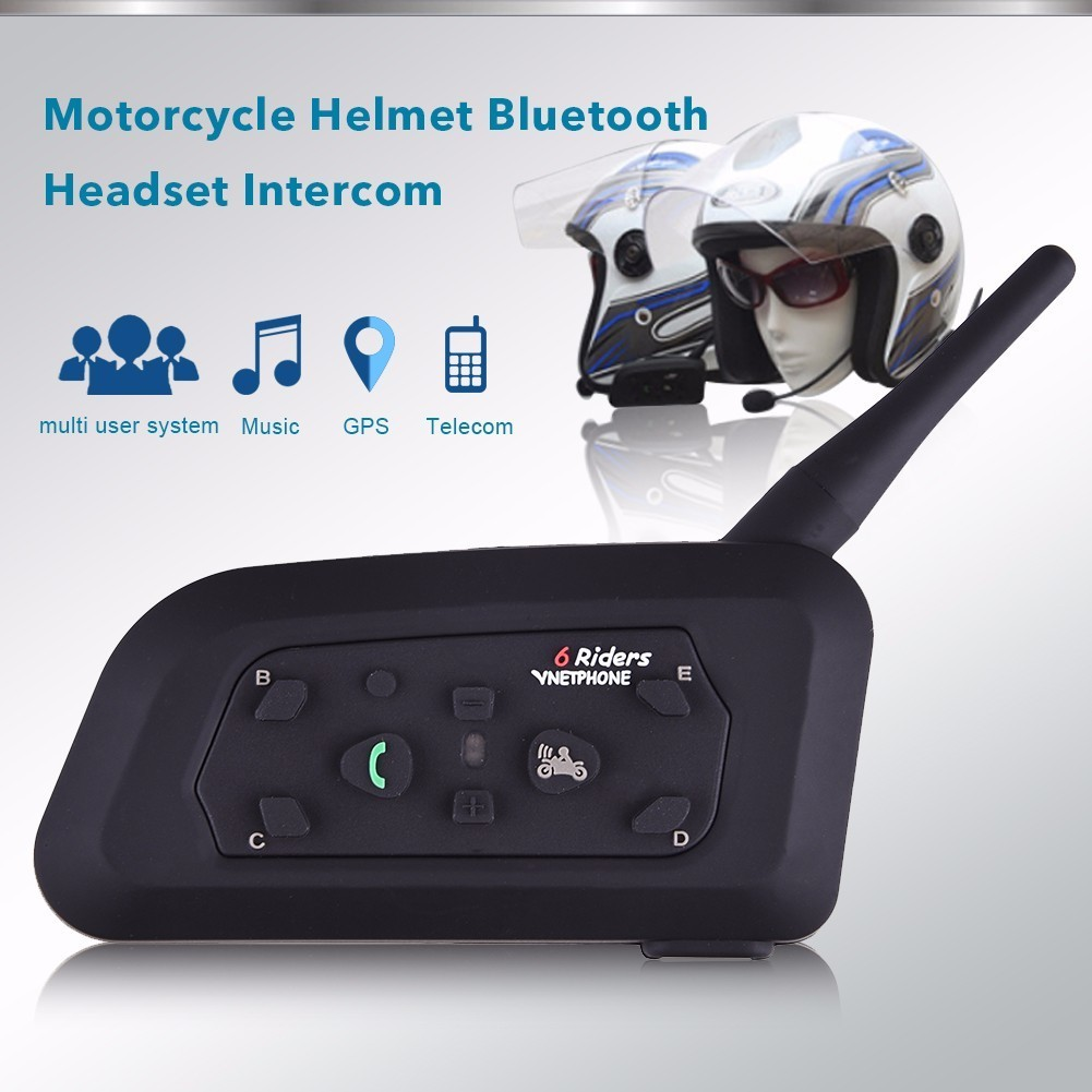 2017 2pcs V6 Pro Intercom US Motorcycle Helmet Bluetooth Headset Waterproof 1200M BT Interphone for 6 Riders Motorbike 2pcs bt s2 intercom 1000m motorcycle helmet bluetooth wireless waterproof headset intercom earphone 2 riders interphone fm radio