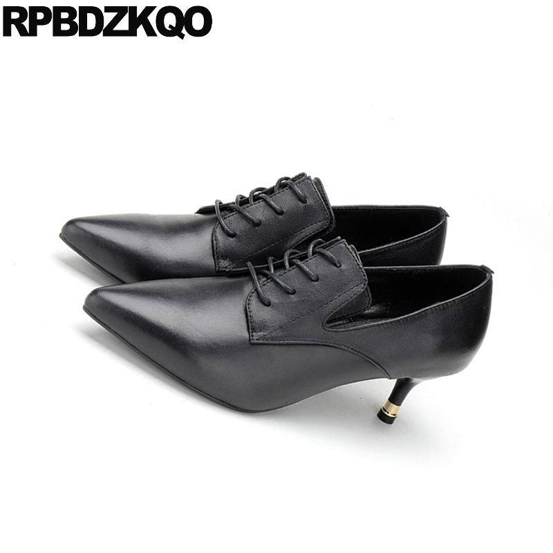 2a160c15ca3d Genuine Leather Oxford Pointed Toe Thin Medium Heels Black Ladies Formal  Shoes Cross Strap 2018 Women Lace Up High Quality Work-in Women s Pumps  from Shoes ...