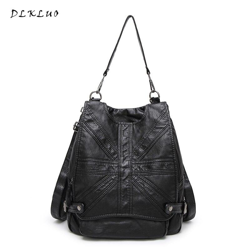 Dlkluo 6616 Genuine Leather Women Backpacks Fashion Dual use Soft Sheepskin Bag Girls Large Capacity Travel
