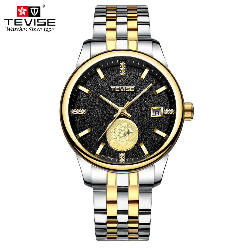 TEVISE Luxury Gold Full Steel Luminous Men Watch Fashion Skeleton Wristwatch Automatic Mechanical Self Wind Date Watches T805A все цены