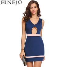 Finejo Cut Out Patchwork Party Bodycon Sexy Dress V-Neck Sleeveless High Waist Above Knee Slim Spring Dresses Roupas Femininas sleeveless cut out dressy high neck pants romper