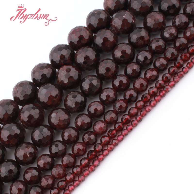4,6,8,10mm Faceted Round Bead Ball Garnet Natural Stone Beads For DIY Necklace Bracelet Earring Jewelry Making 15