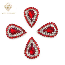 10pcs/pack Red glass strass Double row chain teardrop sew on rhinestones sliver bottom crystal buckle Diy jewelry accessories