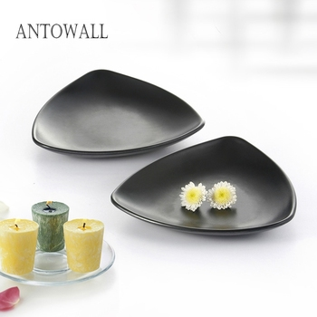 ANTOWALL Triangular black food plate Premium melamine tableware sauce dish rice plate for restaurant