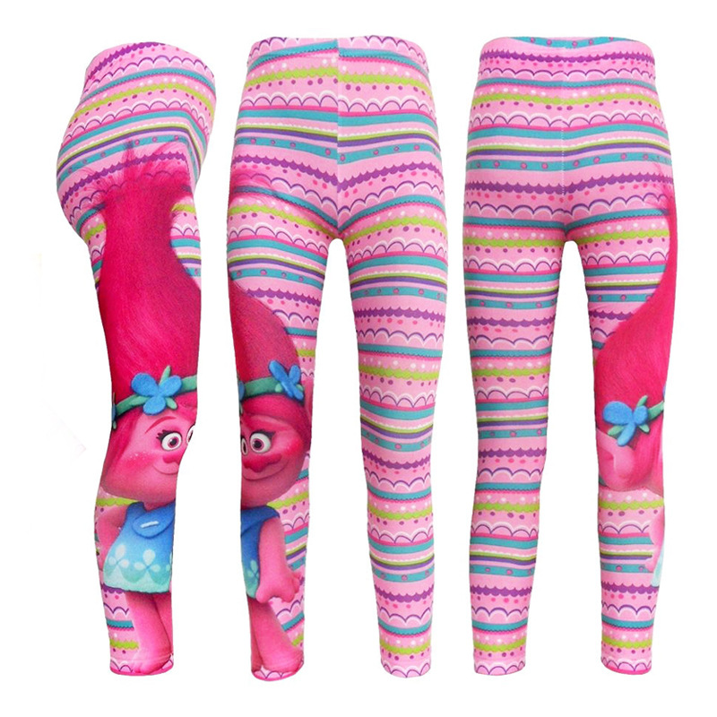 Baby Leggins Cosplay Trolls Pants Poppy Costume Girls Leggings Girls Clothes 10-12 Year Cartoon Printing Classic Casual Style