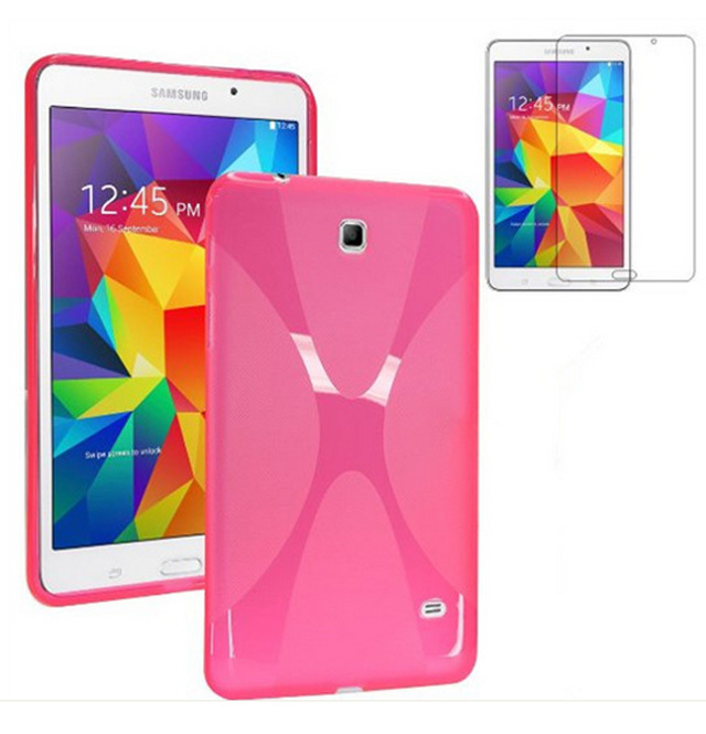 1X Screen Protector , X Line Soft Silicone Rubber TPU Gel Shell Cover Case For Samsung Galaxy Tab 4 Tab4 7.0 7'' T230 T231 T235