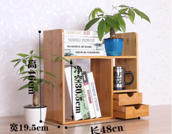 48 46 19 5cm Bamboo Bookcase Desktop Bookshelf Book Storage