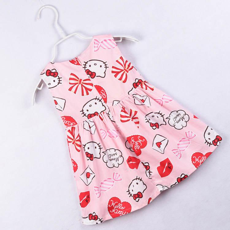 f5816afb3 Baby Girls Hello Kitty Dress 100% Cotton Sweet Pink Sleeveless Summer Dress  Red Lips Pattern Baby Girls CFlothing 1 7Y Kids-in Dresses from Mother &  Kids on ...