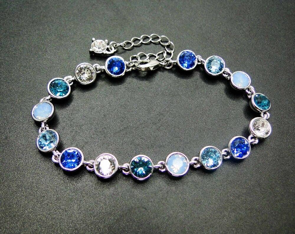 d8ee784b2c60 Comprar Nueva llegada 925 pulsera de plata redonda de cristal azul  tanzanita joyería fina pulsera mujeres joyería longitud 7