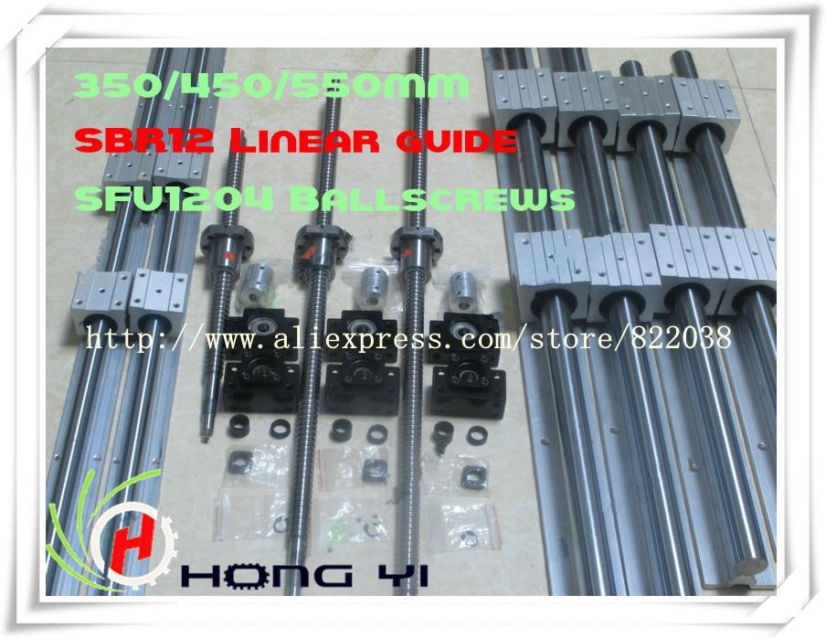 2 X SBR12 Linear Guides L = 320/420/520MM & 3pcs BALL SCREW sfu1204 - 350/450/550MM & 3pcs BK10 BF10 & 3pcs Couplers 6.35 * 8 цены онлайн