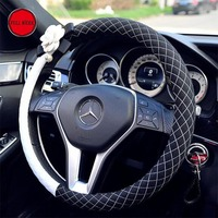 38cm lattice Car Steering Cover Women Girls Steering Wheel Wrap Protector Cover with Camellia Flower Car Decoration Accessories
