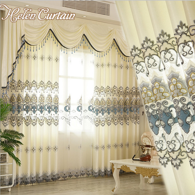 Helen Curtain New Arrive Embroidered Set Curtains Luxury European Valance Curtains For Living Room White Sheers For Bedroom ...