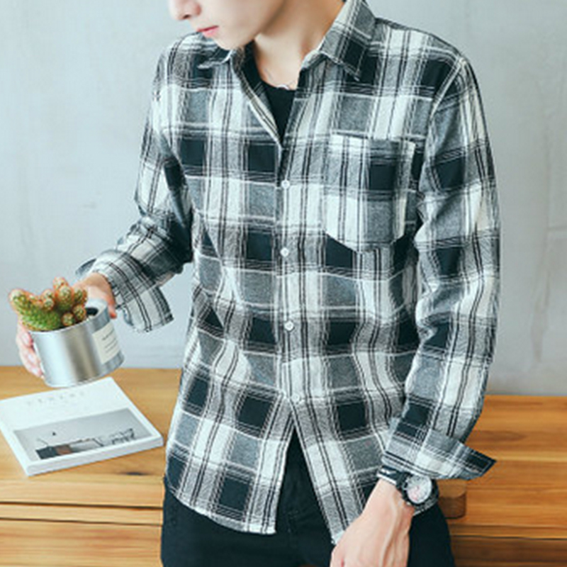 Mens Shirt Casual Long Sleeve Overshirt Spring Autumn Fashion Boys Cloth Slim Fit Stripe Tops Men Clothes 2018 Teenagers S