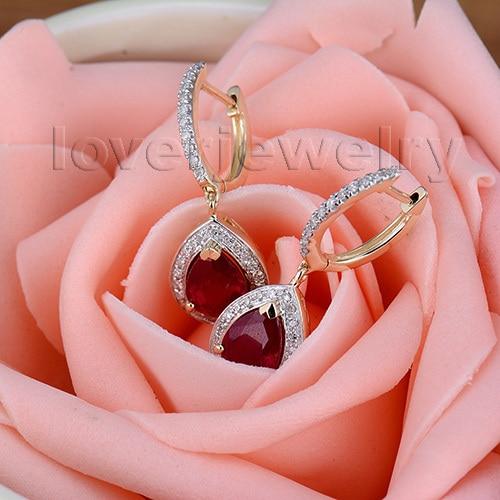 100% Natural Diamond Earrings,Fashion Jewelry 14Kt Yellow Gold Ruby Engagement Earrings For Women E0002J 4