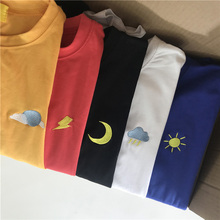 Korean Kpop Cotton Tshirt Women Long Sleeve Ulzzang Harajuku Embroidery T shirt Top Unisex Cloud Moon Sun Cute Aesthetic T shirt