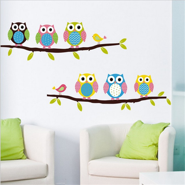 Maruoxuan Wise Owls Bird Stand On The Tree Wall Stickers Kids Rooms Decorative Nursery Room Vinyl